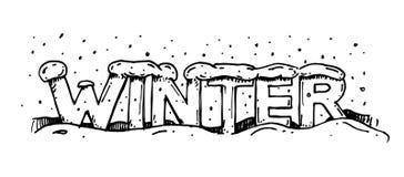 Vettore del disegno dell'iscrizione di inverno Fotografia Stock