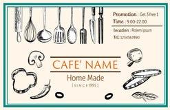 Vettore del disegno di scarabocchio del modello del ristorante dell'opuscolo della carta di nome Immagine Stock