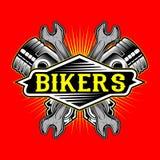 Vettore del disegno del pistone di logo dei motociclisti di stile di lerciume e della mano della chiave illustrazione di stock