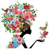 Vettore del fiore della ragazza Fotografia Stock
