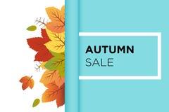 Vettore del fondo dell'insegna di vendita di autunno con le foglie arancio e verdi di caduta dietro la carta di rotolamento del t illustrazione vettoriale