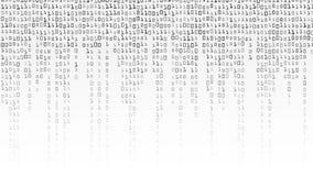 Vettore del fondo di codice binario Fondo in bianco e nero con le cifre sullo schermo illustrazione vettoriale