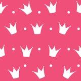Vettore del fondo di principessa Crown Seamless Pattern Fotografia Stock