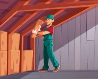 Vettore del fumetto degli impianti dell'isolamento termico della Camera royalty illustrazione gratis