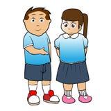 vettore del fumetto del ragazzo e della ragazza di banco Fotografia Stock