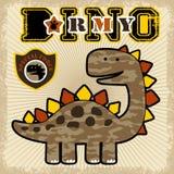 Vettore del fumetto dell'esercito del cammuffamento del dinosauro Fotografie Stock Libere da Diritti