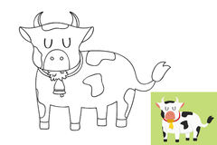Vettore del fumetto del profilo della mucca Immagini Stock