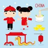 Vettore del fumetto del ragazzo e della ragazza della mascotte dell'Asia di viaggio del posto dell'alimento di tradizione della C illustrazione vettoriale