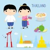 Vettore del fumetto del ragazzo e della ragazza della mascotte dell'Asia di viaggio del posto dell'alimento di tradizione della T royalty illustrazione gratis
