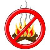 Vettore del fuoco di accampamento dentro il logo vietato rosso Fotografia Stock Libera da Diritti