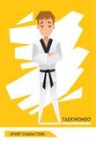 Vettore del giocatore del taekwondo dei caratteri di sport Fotografia Stock Libera da Diritti