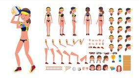 Vettore del giocatore di pallavolo Sport della femmina di beach volley insieme animato della creazione del carattere Vista integr Fotografie Stock