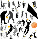 Vettore del giocatore e della sfera di pallacanestro Fotografia Stock