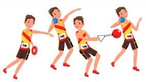Vettore del giocatore del giovane di atletica Uomo Concetto di vittoria dello sportivo vario Concorrenza della corsa Salto in lun royalty illustrazione gratis