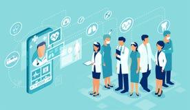 Vettore del gruppo di medici professionale collegato online ad un paziente che dà una visita medica illustrazione di stock