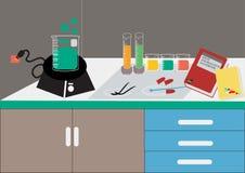 Vettore del laboratorio di scienza Laboratorio chimico, cristalleria chimica illustrazione di vettore, progettazione piana Immagine Stock