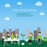Vettore del lavoratore di concetto di affari di sostenibilità Illustrazione ENV Fotografie Stock Libere da Diritti