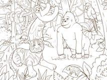 Vettore Del Libro Da Colorare Del Fumetto Degli Animali Della