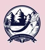 Vettore del logos di pesca che disegna a mano Fotografia Stock
