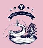Vettore del logos di pesca che disegna a mano Immagine Stock