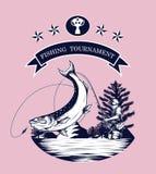 Vettore del logos di pesca che disegna a mano Immagini Stock
