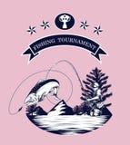 Vettore del logos di pesca che disegna a mano Fotografie Stock Libere da Diritti