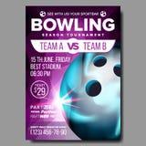 Vettore del manifesto di bowling Annuncio di avvenimento sportivo Pubblicità dell'insegna del club Lega professionale Invito vert illustrazione di stock