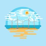 Vettore del mare dei generatori eolici piano Fotografia Stock