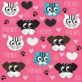 Vettore del modello degli amici del cane e del gatto Fotografia Stock
