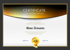 Vettore del modello del certificato Fotografia Stock