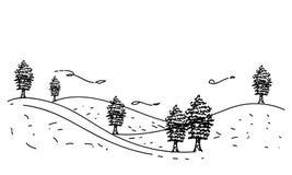 Vettore del modello dell'albero della montagna del disegno della mano Immagine Stock Libera da Diritti
