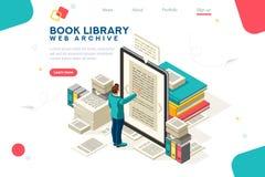 Vettore del modello della biblioteca del libro di media illustrazione di stock