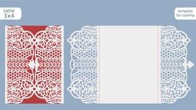 Vettore del modello della carta dell'invito di nozze del taglio del laser Tagli la carta di carta con il modello del pizzo Modell Fotografia Stock