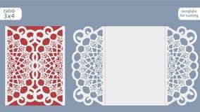 Vettore del modello della carta dell'invito di nozze del taglio del laser Tagli la carta a stampo tagliente di carta con il model Fotografia Stock Libera da Diritti
