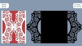Vettore del modello della carta dell'invito di nozze del taglio del laser Tagli la carta a stampo tagliente di carta con il model Fotografie Stock Libere da Diritti
