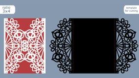 Vettore del modello della carta dell'invito di nozze del taglio del laser Tagli la carta a stampo tagliente di carta con il model Fotografia Stock