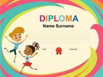 Vettore del modello di progettazione del fondo del certificato del diploma dei bambini immagini stock