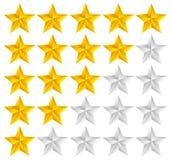 Vettore del modello di valutazione della stella con le stelle 3d Fotografia Stock Libera da Diritti