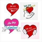 vettore del pacchetto del cuore di 4 biglietti di S. Valentino Fotografia Stock