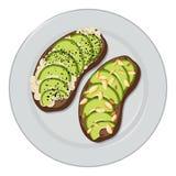 Vettore del pane tostato dell'avocado illustrazione vettoriale