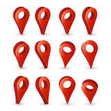 vettore del puntatore della mappa 3d Fondo bianco di Symbol Isolated On del navigatore rosso stabilito con ombra molle Simbolo di illustrazione di stock