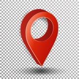 vettore del puntatore della mappa 3d Fondo a quadretti di Symbol Isolated On del navigatore rosso Immagine Stock