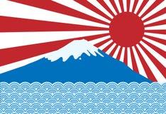 Vettore del raggio rosso del sole del sol levante del Giappone con Fuji san e blu illustrazione di stock