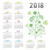 Vettore del ramo del fiore del nuovo anno 2018 del calendario del pianificatore Immagini Stock Libere da Diritti