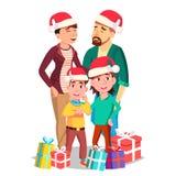 Vettore del ritratto della famiglia di Natale Papà, madre, bambini In Santa Hats Vacanze invernali cheerful Saluto, cartolina royalty illustrazione gratis