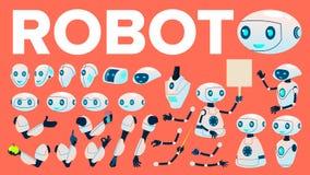 Vettore del robot Insieme di animazione Assistente futuristico del robot di automazione di tecnologia Macchina cibernetica di Ai  illustrazione vettoriale