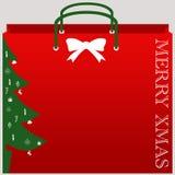 Vettore del sacchetto della spesa di Natale immagini stock