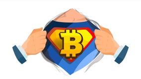 Vettore del segno di Bitcoin Camicia aperta del supereroe con il distintivo dello schermo Estrazione mineraria, tecnologia per va illustrazione vettoriale