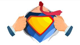 Vettore del segno del supereroe Camicia aperta dell'eroe eccellente con il distintivo dello schermo Posto per testo Illustrazione royalty illustrazione gratis