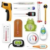 Vettore del termometro che tempera l'insieme caldo freddo dell'illustrazione del tempo di grado della scala di Celsius Fahrenheit illustrazione vettoriale